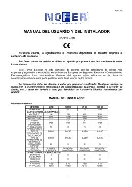 MANUAL DEL USUARIO Y DEL INSTALADOR