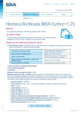 Hipoteca Bonificada BBVA Euribor+1,25