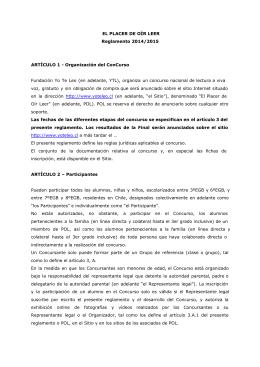 EL PLACER DE OÍR LEER Reglamento 2014/2015 ARTÍCULO 1