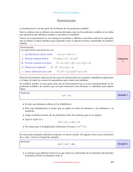 Factorización - Aprende Matemáticas