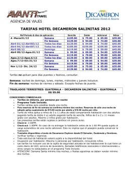 TARIFAS HOTEL DECAMERON SALINITAS 2012