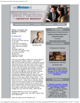 Best Practices for Adventist Worship, September 9, 2012