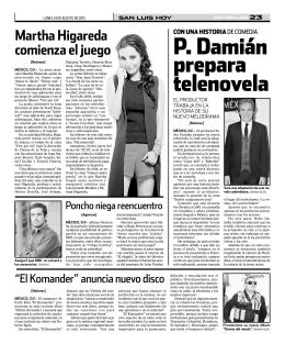 P. Damián prepara telenovela