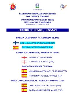 CUADRO DE HONOR / WINNERS