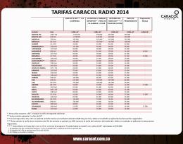 tarifas caracol radio 2014