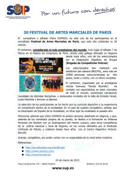 30 Festival del artes marciales de París. Con la participación de