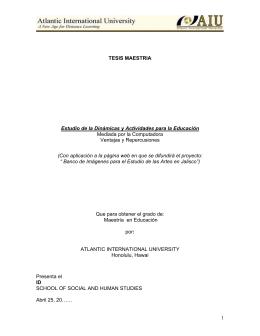 1 TESIS MAESTRIA Estudio de la Dinámicas y Actividades para la