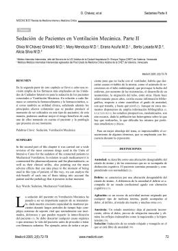 Sedación de Pacientes en Ventilación Mecánica. Parte II