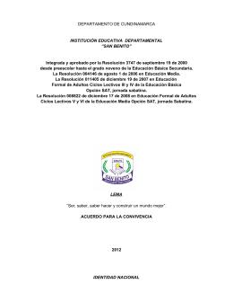 DEPARTAMENTO DE CUNDINAMARCA INSTITUCIÓN