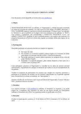 Bases legales concurso Cristian Castro