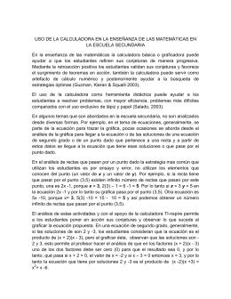 USO DE LA CALCULADORA EN LA ENSEÑANZA DE LAS