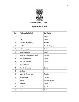 embajada de la india lista de peliculas