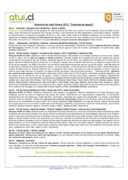 """Itinerario de viaje Verano 2015 """"Cataratas de Iguazú"""" FIN"""
