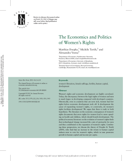 The Economics and Politics of Women`s Rights