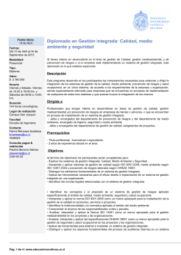 Diplomado en Gestión integrada: Calidad, medio ambiente y