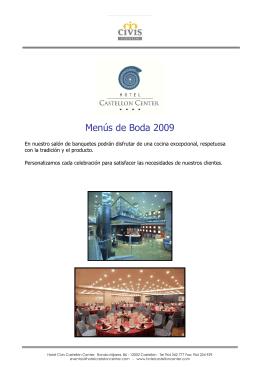 Menús de Boda 2009 - TRYP Castellón Center
