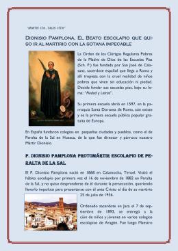 Dionisio Pamplona, El Beato escolapio que qui
