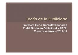 Profesora Elena González Leonardo 1º del Grado en Publicidad y