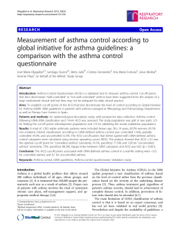 Measurement of asthma control according to global initiative for