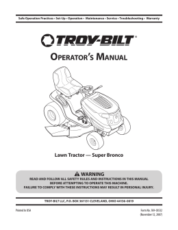 OPERATORTS MANUAL - Troy-Bilt