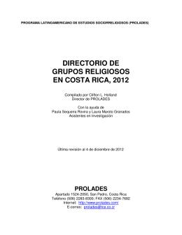 directorio de grupos religiosos en costa rica, 2012