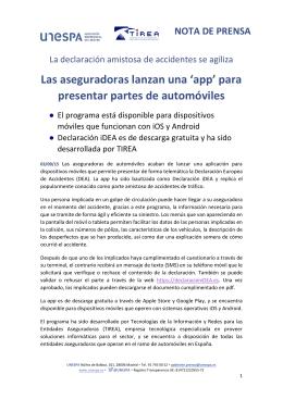 Nota de prensa. Aplicación iDEA