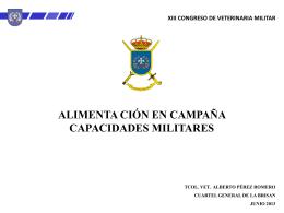 Alimentación en campaña. Capacidades militares