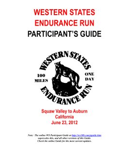 WESTERN STATES ENDURANCE RUN PARTICIPANT`S GUIDE