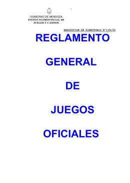 reglamento general de juegos oficializados