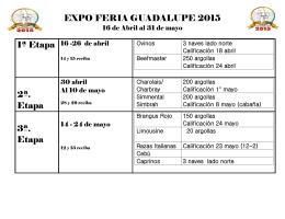 EXPO FERIA GUADALUPE 2015 2ª. Etapa 3ª. Etapa