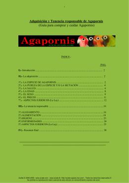 Adquisición y Tenencia responsable de Agapornis