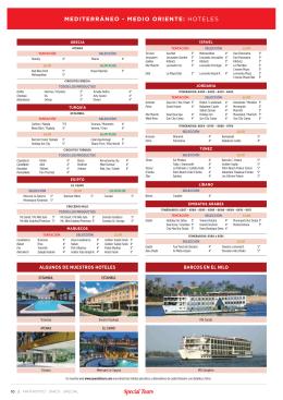 MEDITERRÁNEO - MEDIO ORIENTE: HOTELES