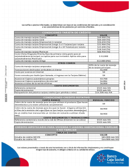 CONDICIONES TARJETA DE CRÉDITO CONDICIONES CREDITO
