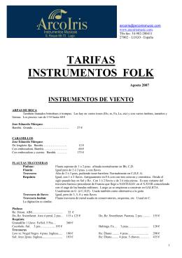TARIFAS INSTRUMENTOS FOLK
