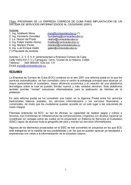 1 Título: PROGRAMA DE LA EMPRESA CORREOS DE CUBA