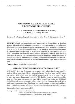 MANEJO DE LA ALERGIA AL LATEX Y DERIVADOS DEL CAUCHO