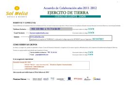 MIISTERIO DE DEFENSA - EJERCITO DE TIERRA Acuerdo 2011