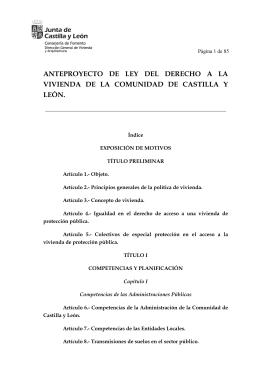 Anteproyecto de Ley del Derecho a la Vivienda de Castilla y León