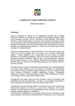 LA MARCA DE CALIDAD TERRITORIAL EUROPEA Reglamento