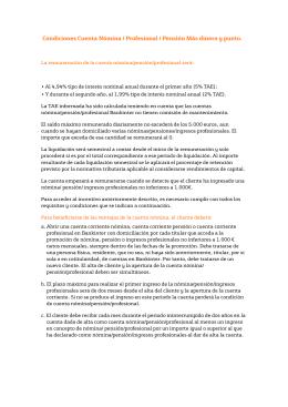 Condiciones Cuenta Nómina / Profesional / Pensión Más