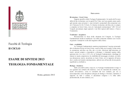 Teologia Fondamentale - Pontificia Università Gregoriana