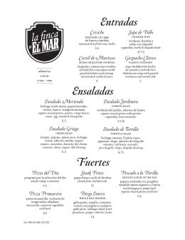 Lunch menu - Rancho Santana