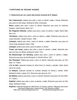 Partitures - Associació Wagneriana de Barcelona