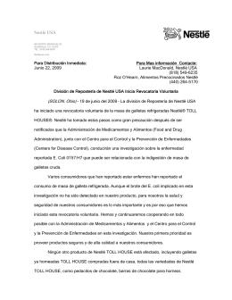 División de Repostería de Nestlé USA Inicia Revocatoria Voluntaria