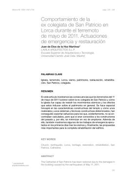 Comportamiento de la ex colegiata de San Patricio en Lorca