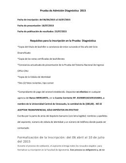 INFORMACIÓN DE Prueba de Admisión Diagnóstica 2015