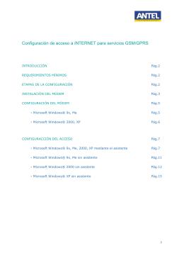Configuración de acceso a INTERNET para servicios GSM