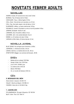 NOVETATS FEBRER ADULTS - Ajuntament de Corbera de Llobregat