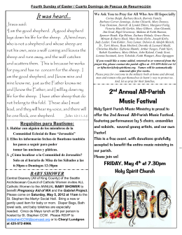 2nd Annual All Annual All-Parish Music Festival Music Festival