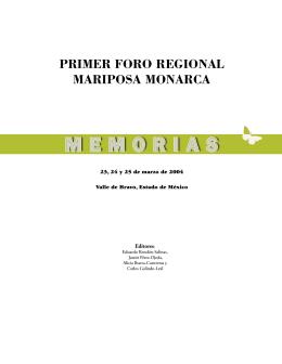 PRIMER FORO REGIONAL MARIPOSA MONARCA